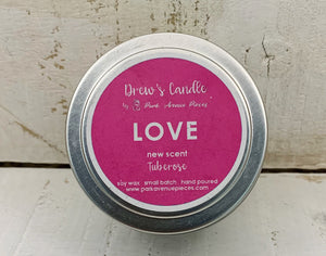 "Drew's Tin Candle- Tuberose  ""Love"""