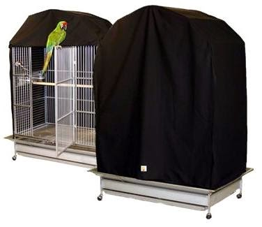 two parrot cage covers, one unveiled and one completely enclosed