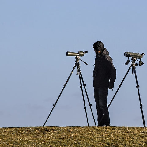 birder with two spotting scopes setup on tripods