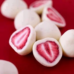 strawberries covered in yogurt