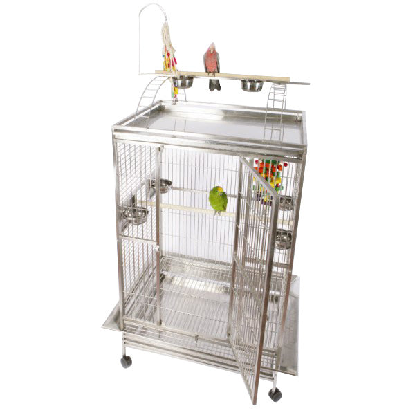 "A&E Cage Co. 48""x36"" Stainless Steel Mondo Play Top Bird Cage"
