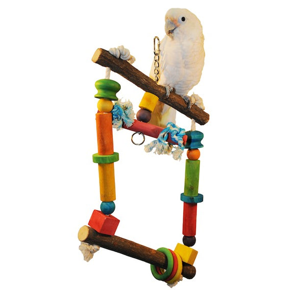 Happy Beaks Natural Wood Swing with Rope