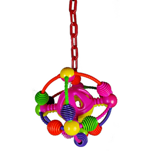 Happy Beaks Space Ball on a Chain Bird Toy
