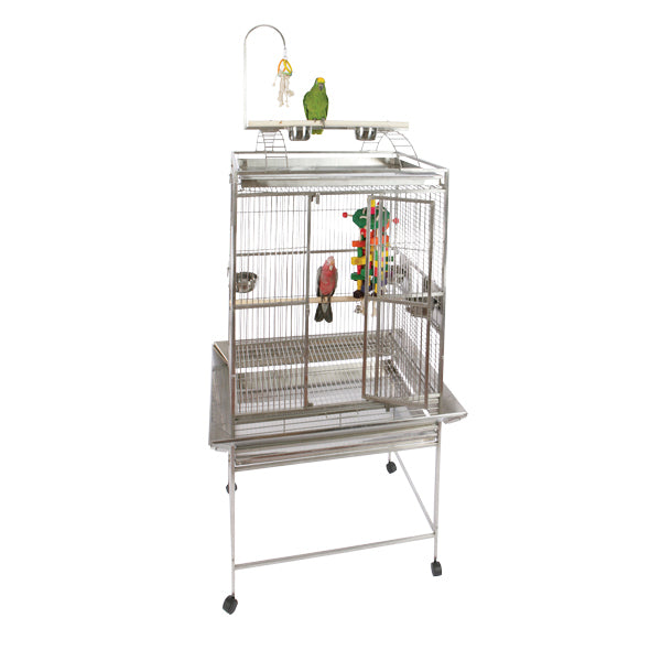 "A&E Cage Co. 32""x23"" Stainless Steel Refuge Play Top Bird Cage"