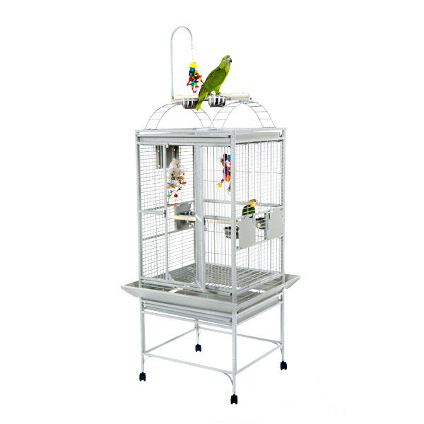 "A&E Cage Co. 24""x22"" Stainless Steel Retreat Play Top Bird Cage"