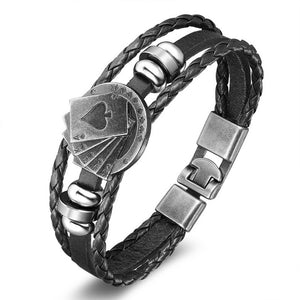 COOL NEW Lucky Playing Cards Vintage Black Coffee Leather Bracelet