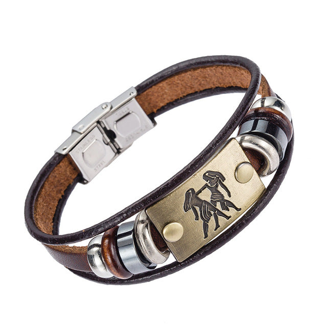 HOT NEW ZODIAC Leather Bracelet With Stainless Steel Clasp
