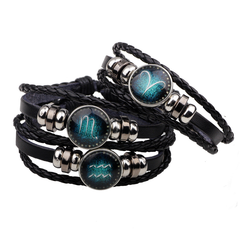 12 Zodiac Signs Handmade Leather Bracelet for Men and Women