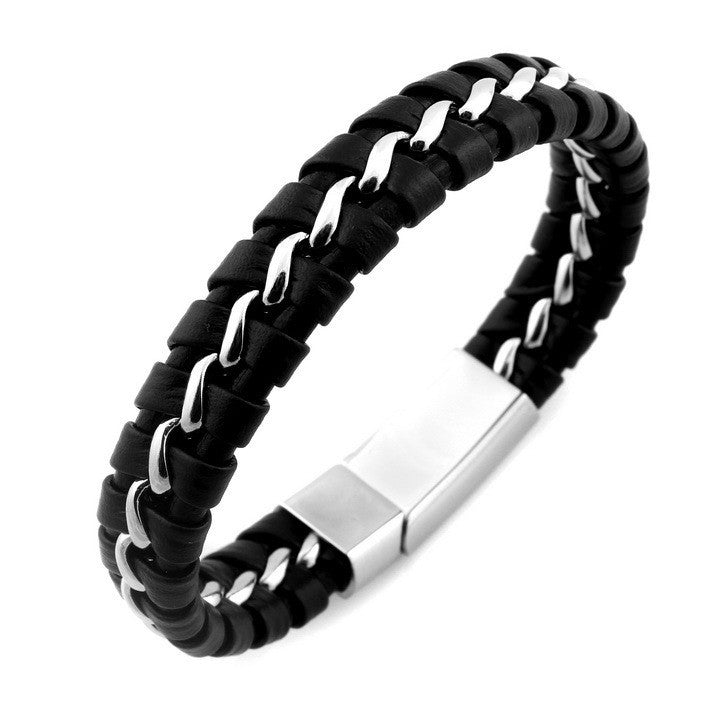 HOT VALENTINE'S DAY GIFT Stainless Steel Leather Knitted Bracelet