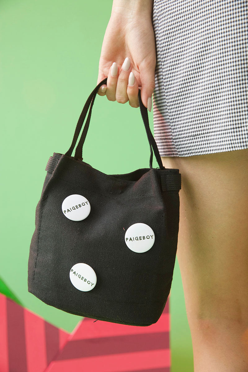 paigeboy bucket bag, paigeboy mini canvas bucket bag, mini canvas bucket bag, bucket bag with enamel pin, mini tote, canvas mini bag
