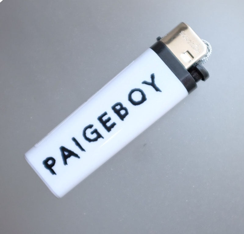white lighter, white logo lighter, white paigeboy lighter, bad luck lighter, paigeboy merch