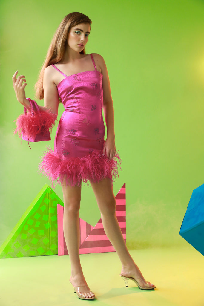 Zsa Zsa Feathered Mini Dress