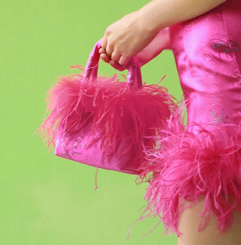 ostrich feathered purse, hot pink feathered purse, satin feathered purse, paigeboy ostrich purse, zsa zsa hot pink purse