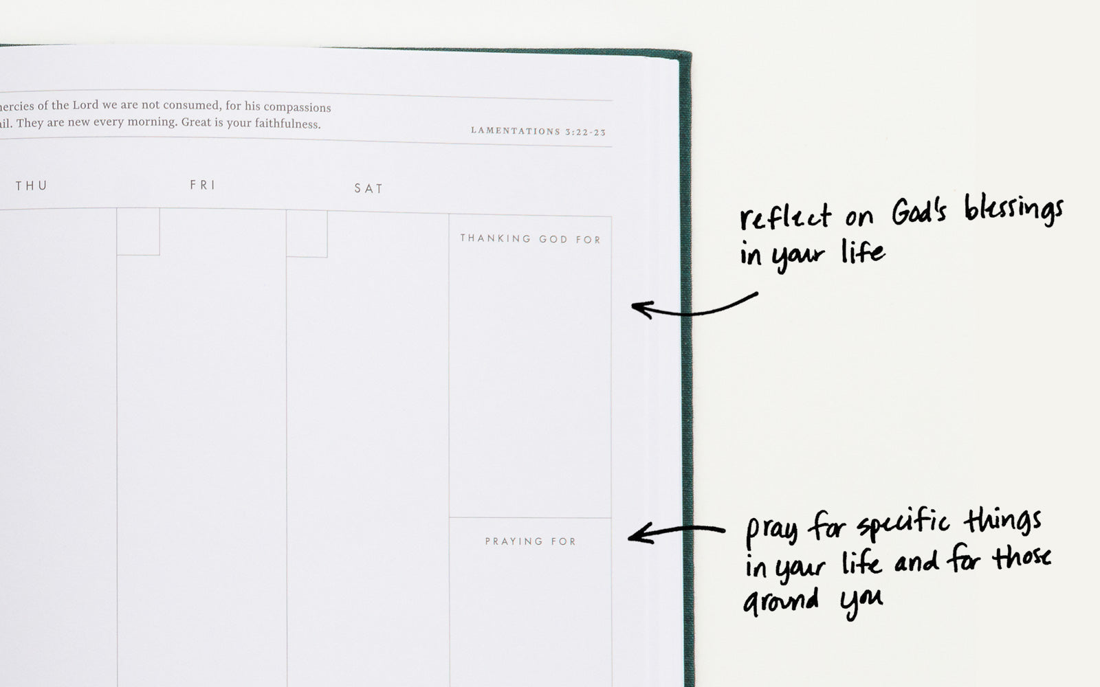 Reflect on God's blessings in your life, and pray for specific things and people around you