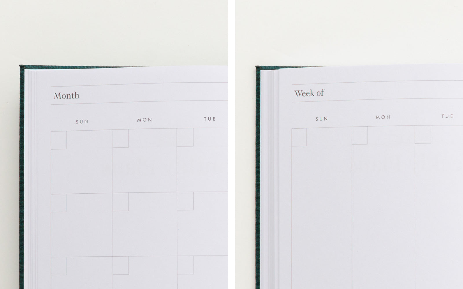Undated monthly and weekly plans
