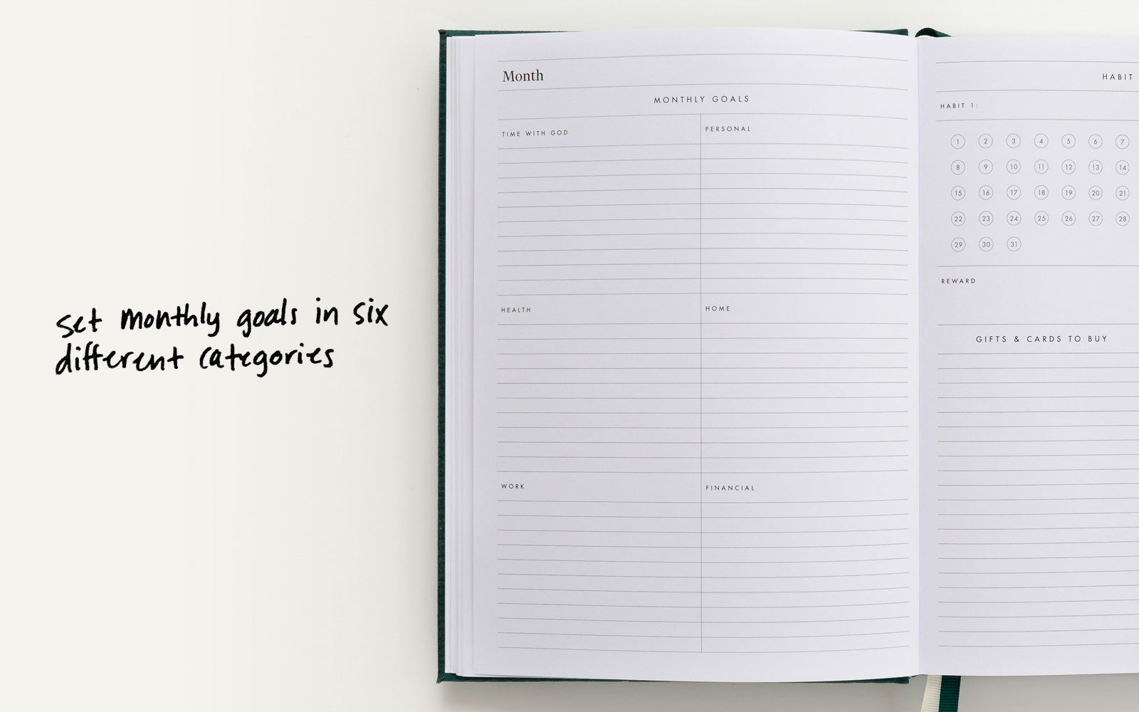 Set monthly goals in six different categories