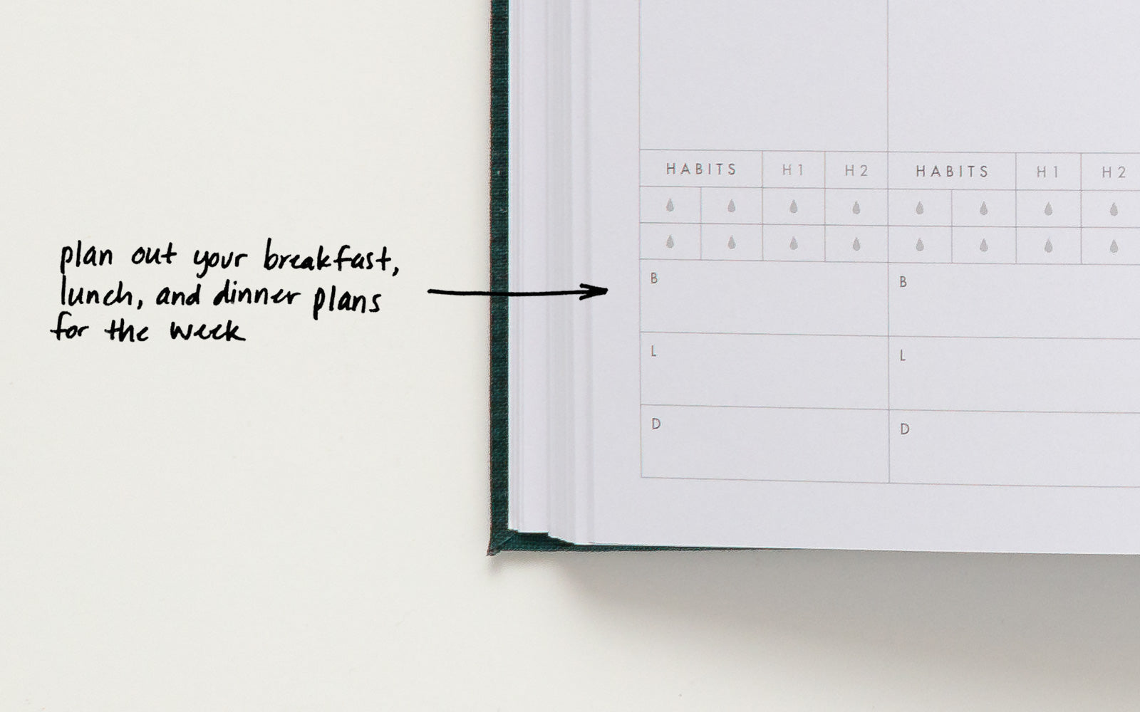 Plan our your breakfast, lunch, and dinner plans for the week