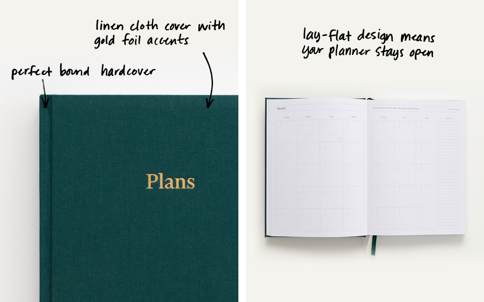 Linen cloth cover with gold foil accents. Lay-flat design means your planner stays open.