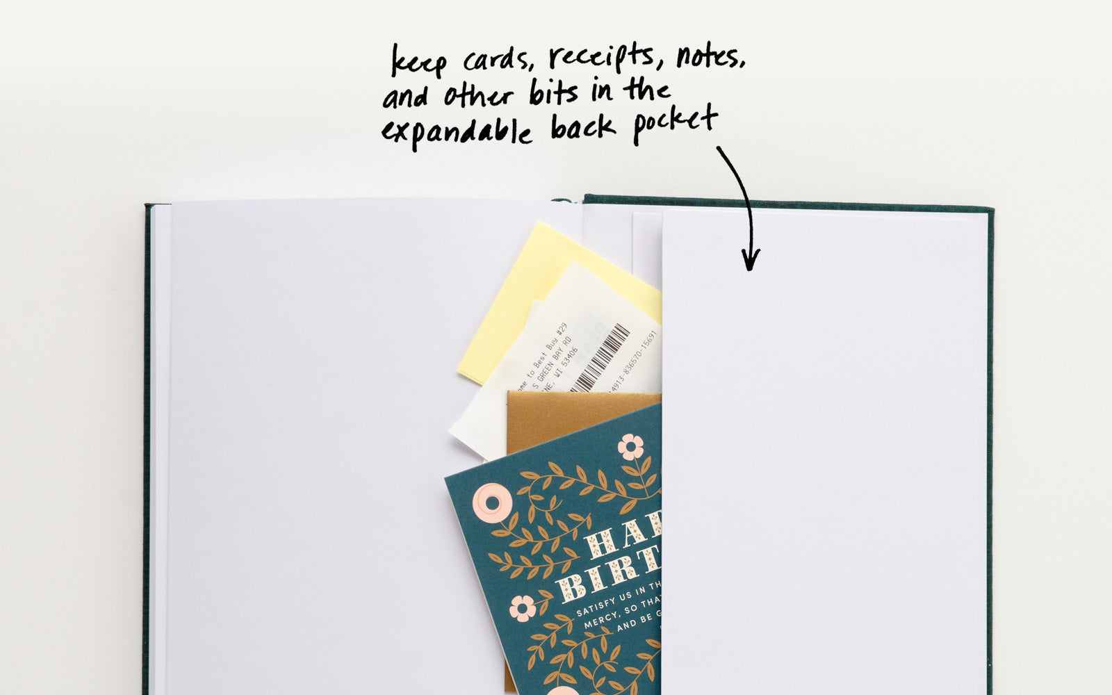 Keep cards, receipts, notes, and other bits in the expandable back pocket