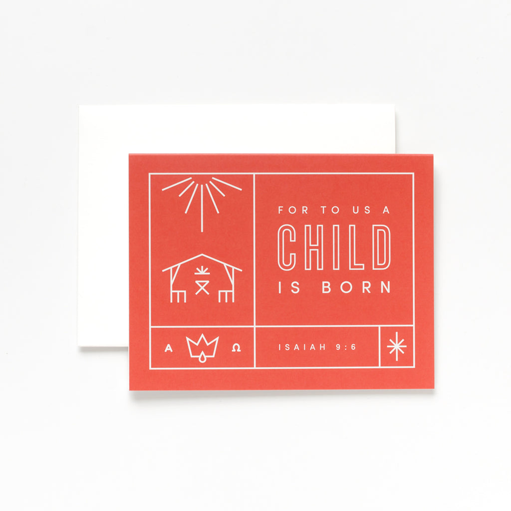 A Child Is Born, Bright Red Christmas Greeting Card