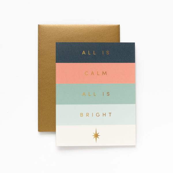 All Is Bright, Minimal Christmas Greeting Card