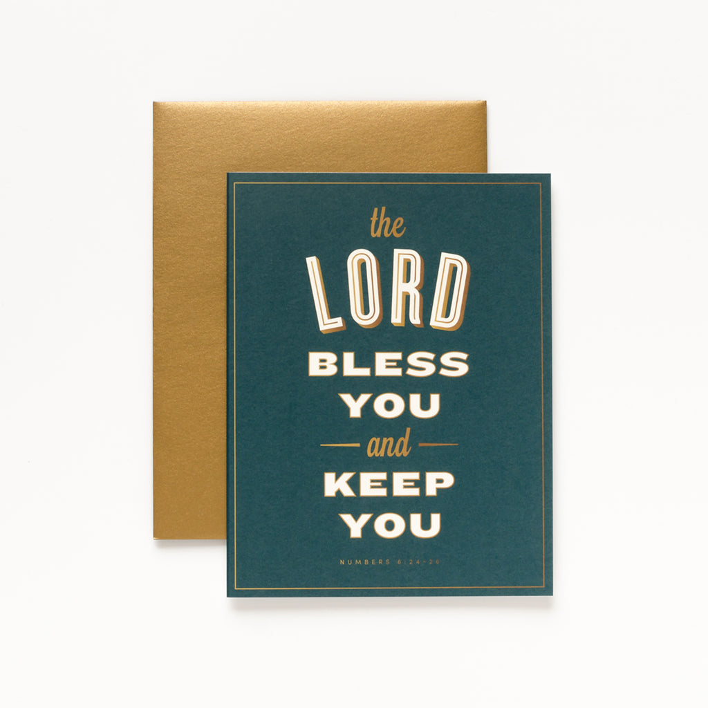 Bless You, Dark Green Greeting Card