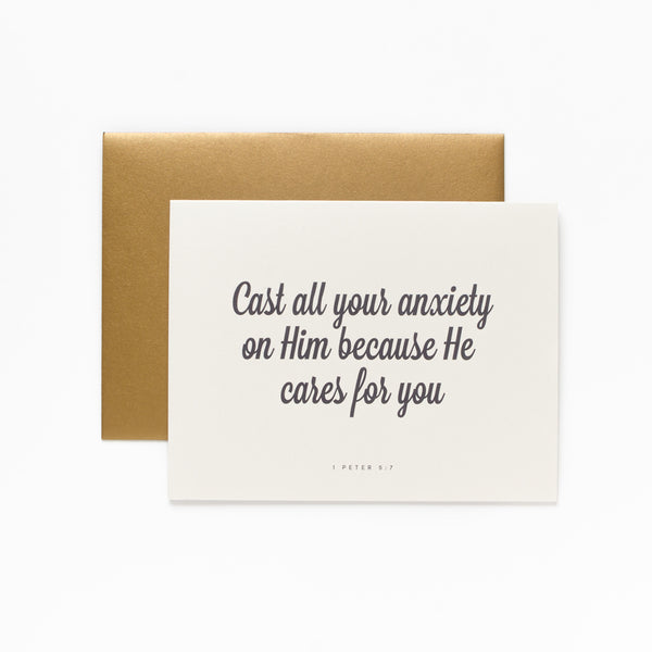 He Cares for You, Cream Greeting Card