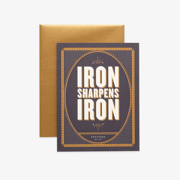 Iron Sharpens Iron, Black Greeting Card