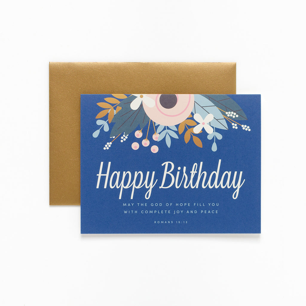 Joy and Peace, Floral Birthday Greeting Card