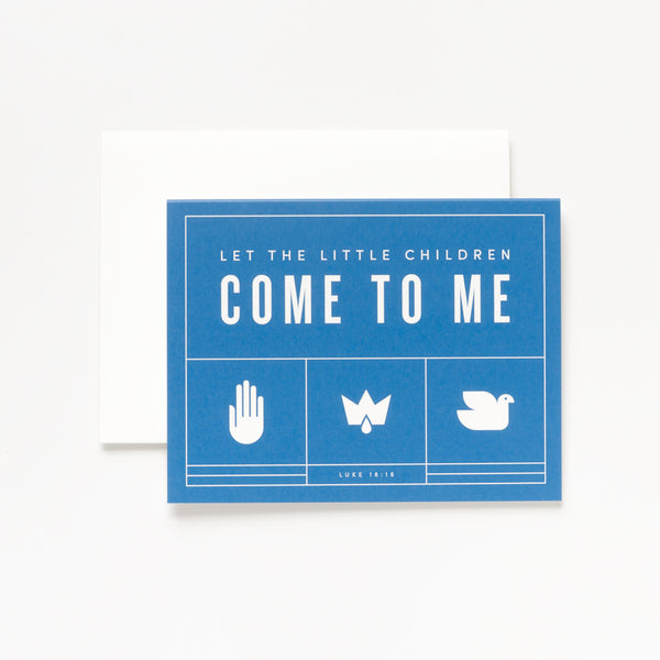 Little Children, Blue Greeting Card