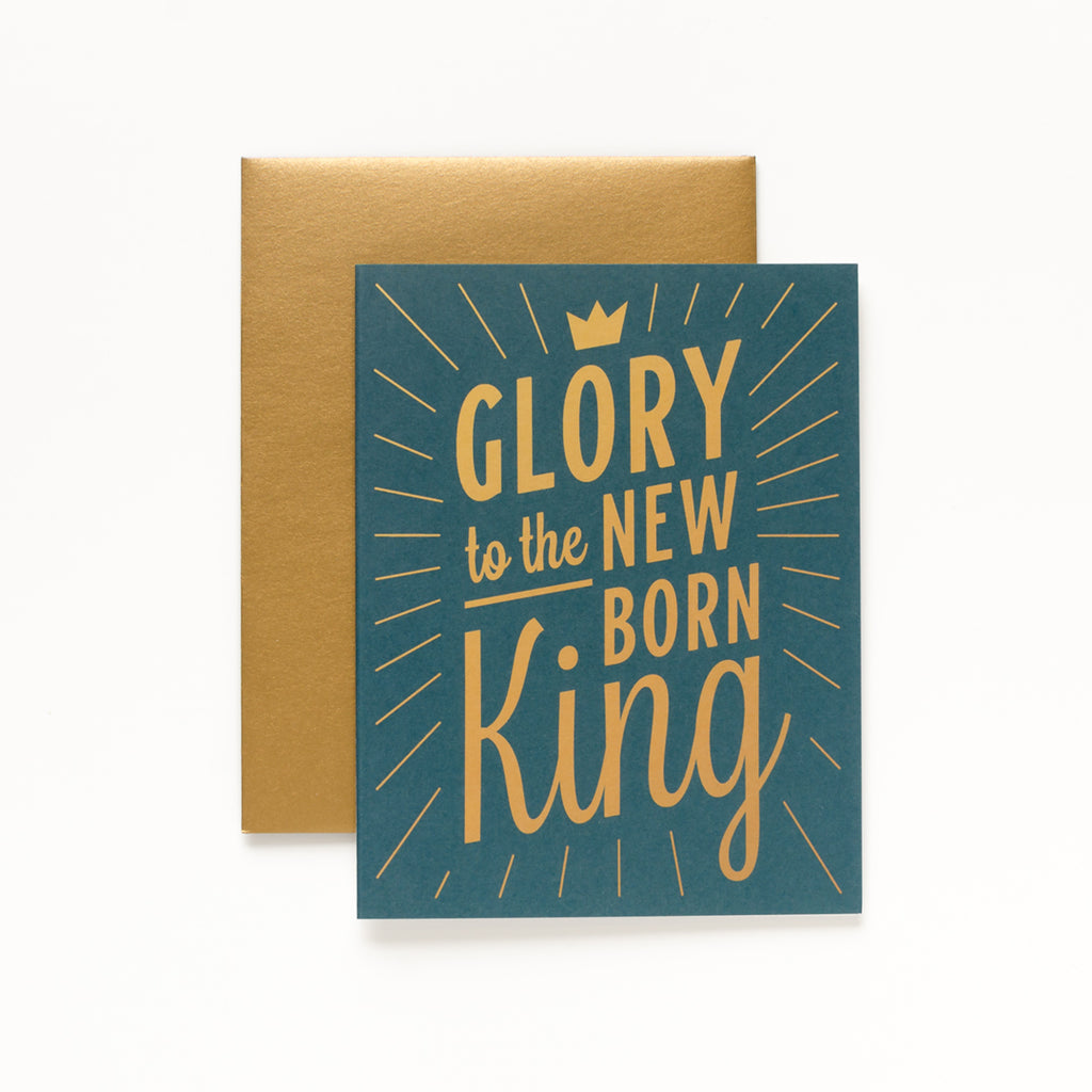 New Born King, Dark Green Christmas Greeting Card