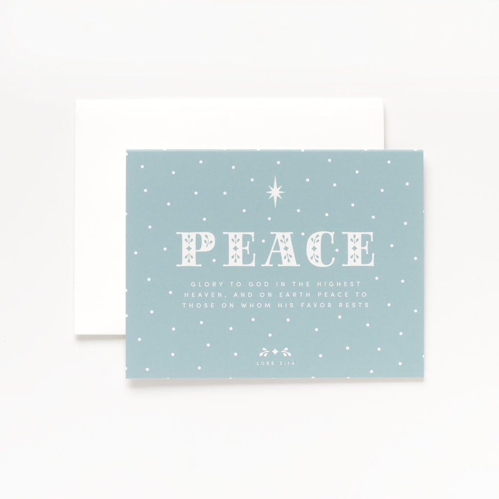 Peace, Sea Green Christmas Greeting Card