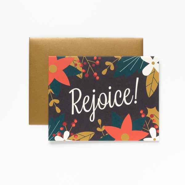 Rejoice, Floral Christmas Greeting Card