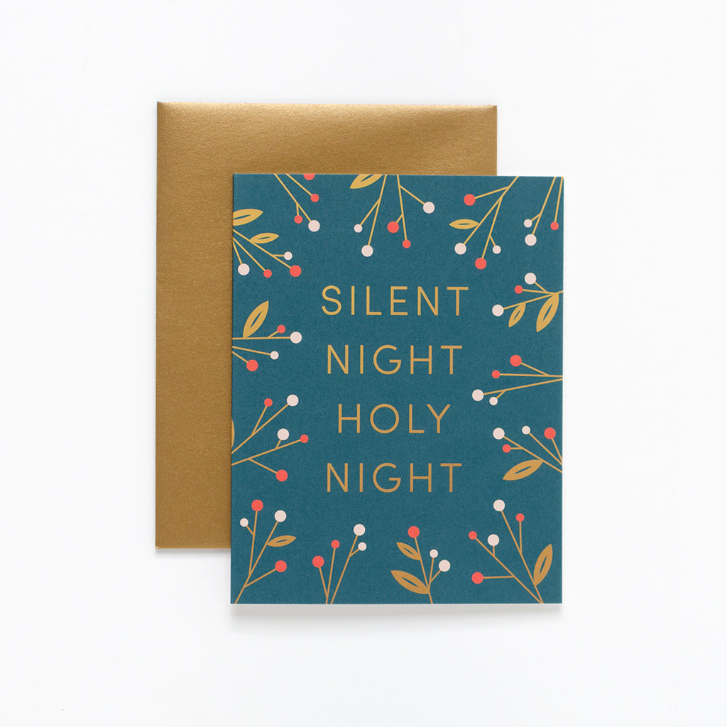 Silent Night, Dark Green Christmas Greeting Card