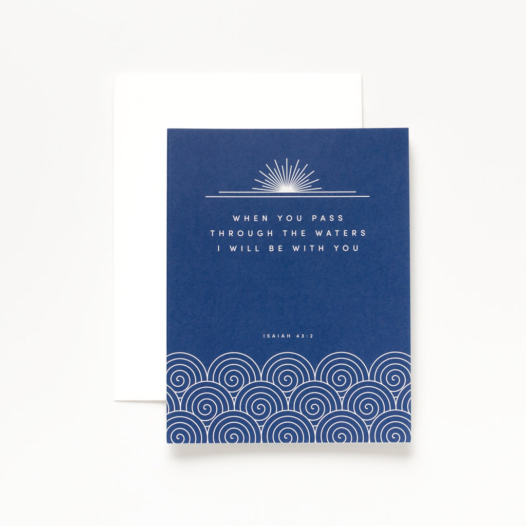 Through the Waters, Navy Greeting Card