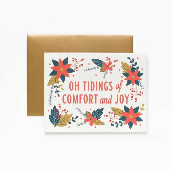 Tidings, Floral Christmas Greeting Card