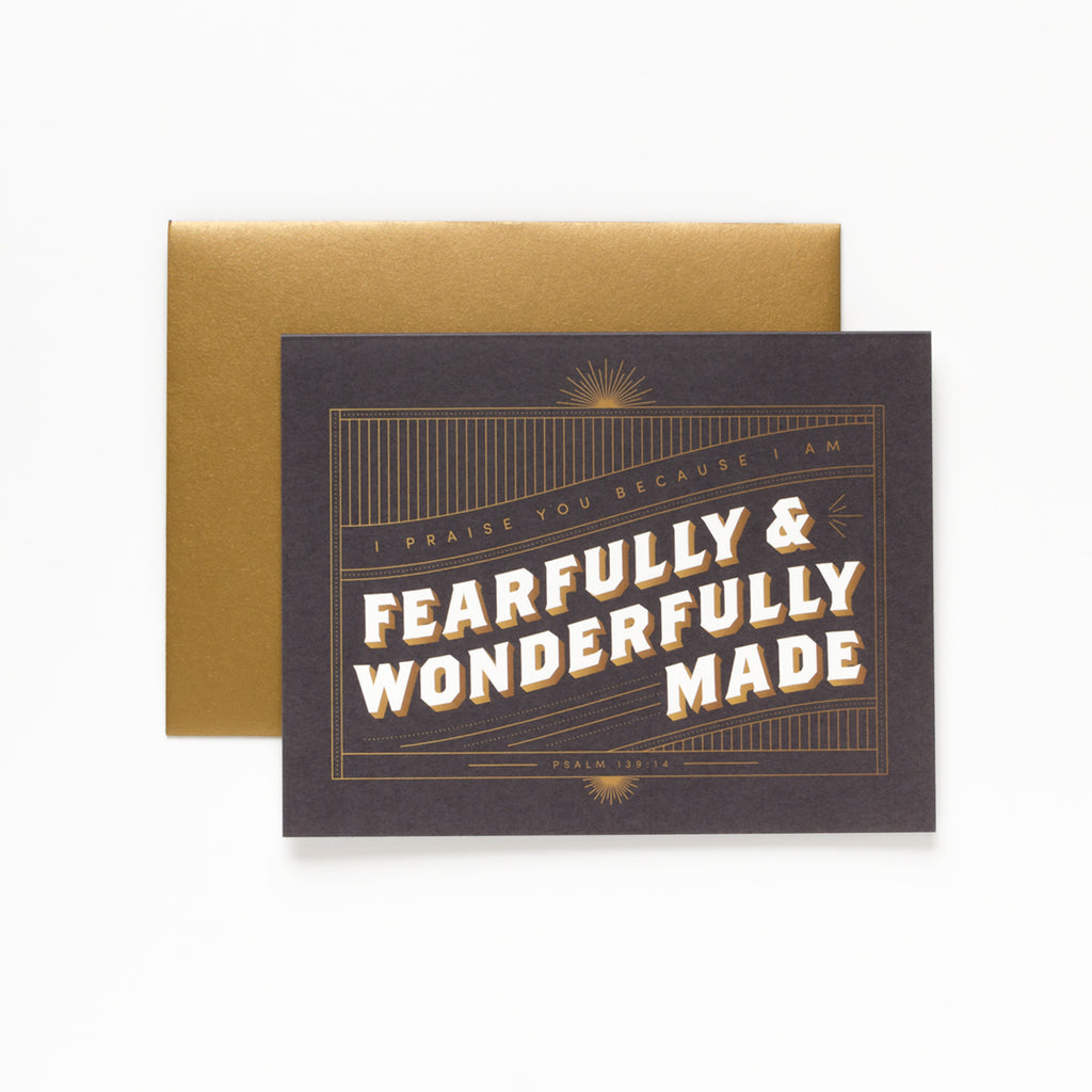 Wonderfully Made, Black Greeting Card