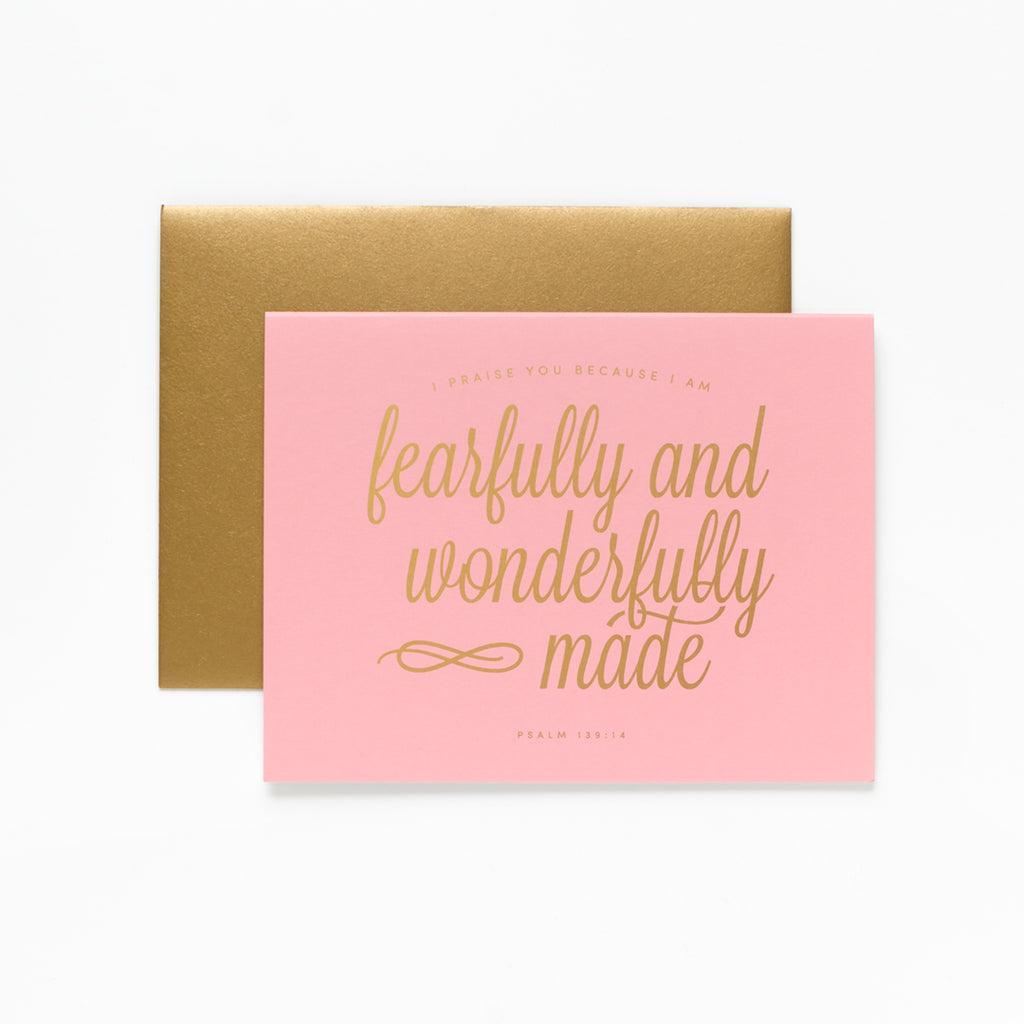 Wonderfully Made, Pink Greeting Card