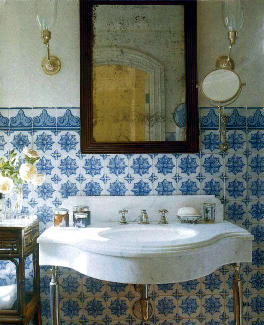 Blue & White Painted Tile