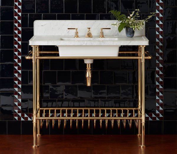 Moderna Metal Washstand with White Marble Top