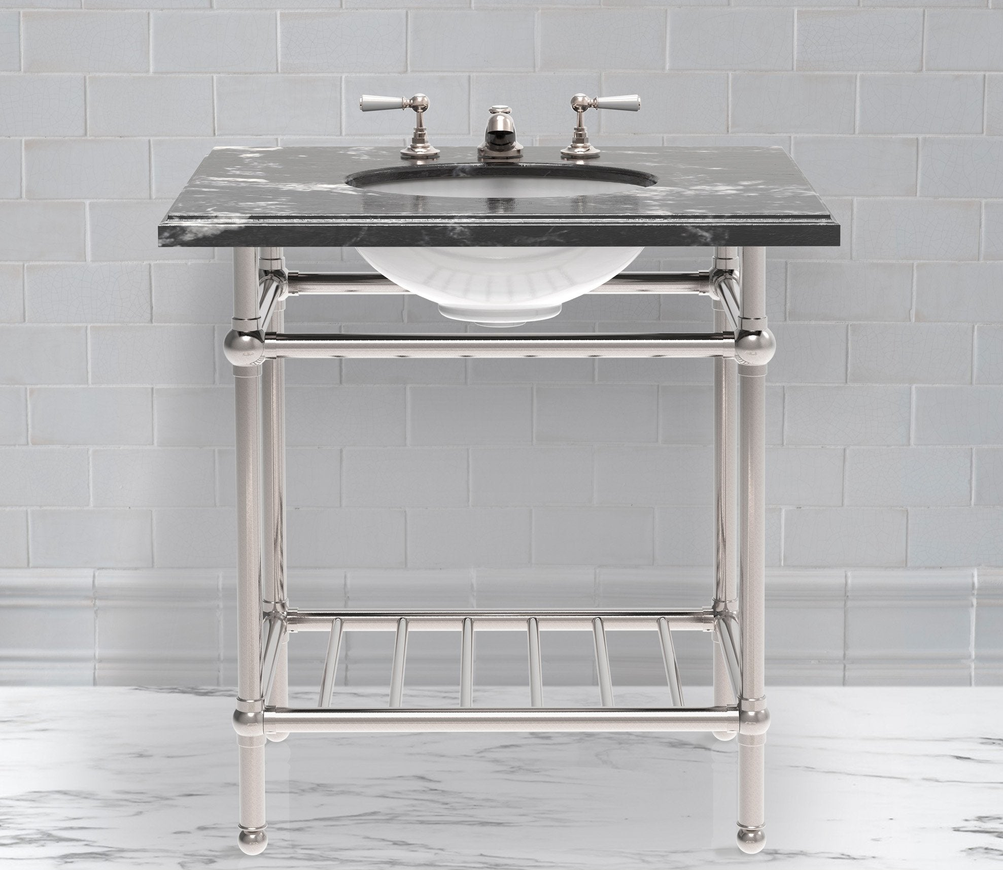 Gotham Washstand with Metal Shelf Single Product Image 1