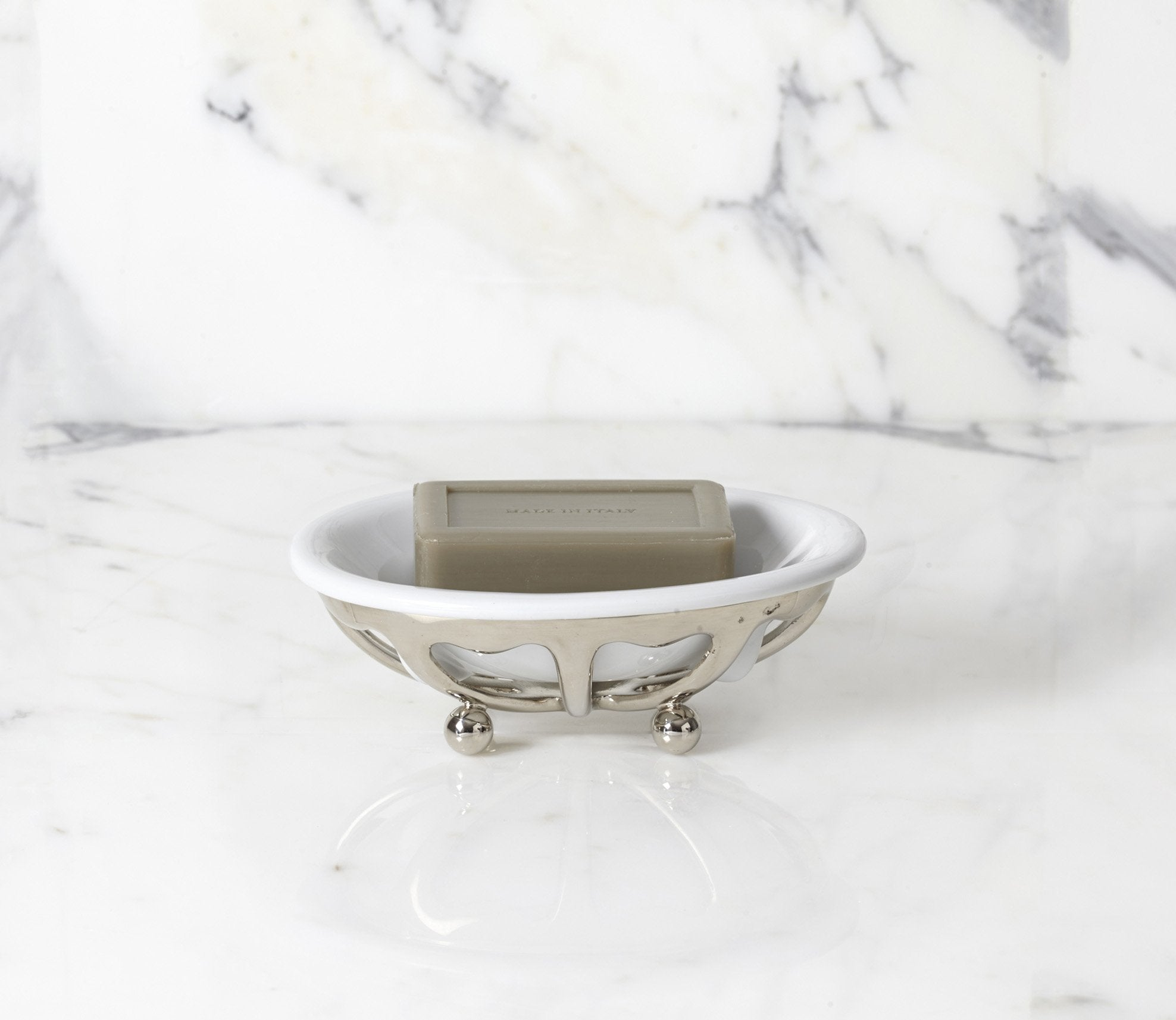 Classic Soap Dish with White Porcelain Product Image 1