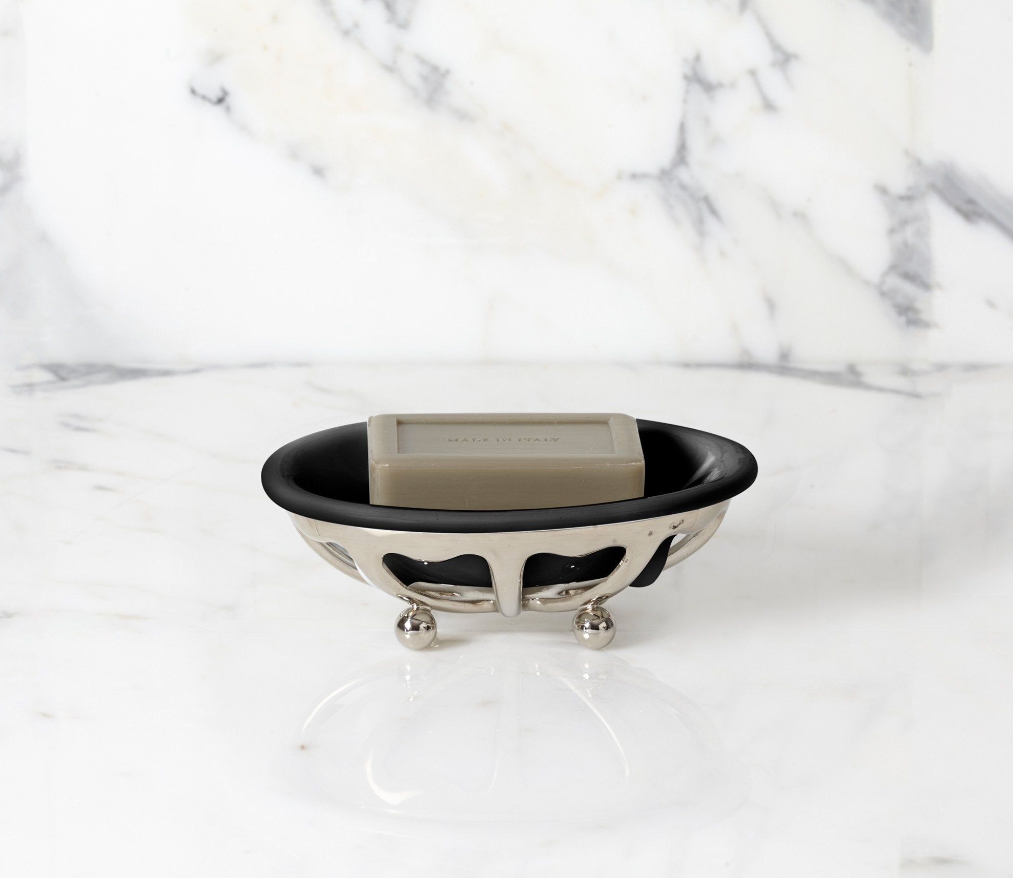 Classic Soap Dish with Black Porcelain Product Image 1