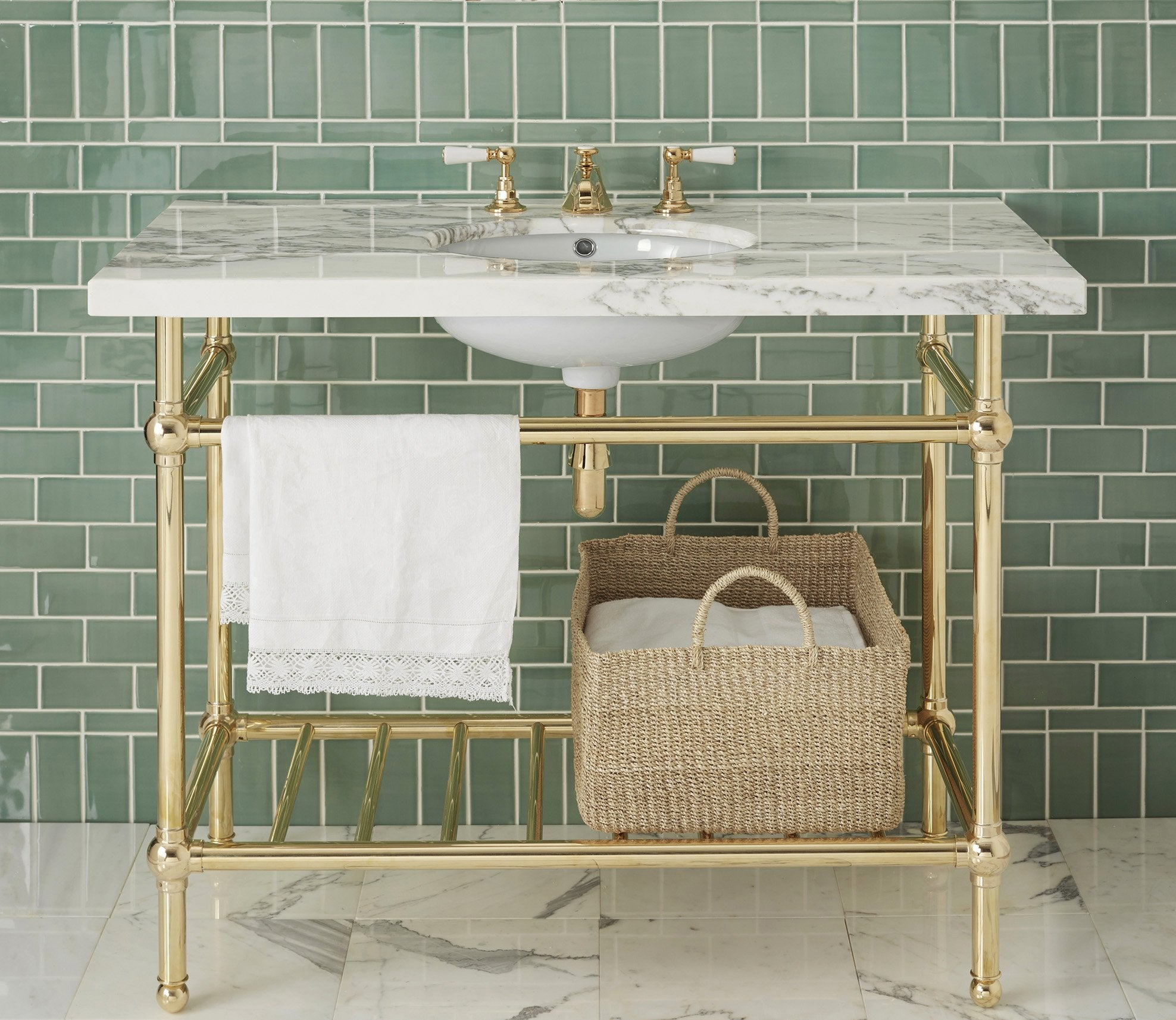 Gotham Washstand with Metal Shelf Extra Wide Single Product Image 1