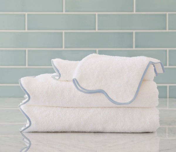 scallop bath towels with custom trim