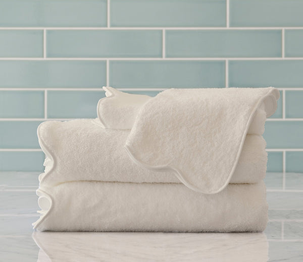 scallop bath towels ivory