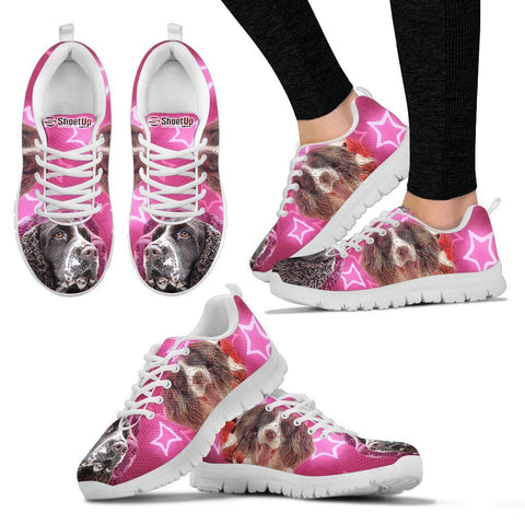 English Springer Spaniel On Pink Print Running Shoes For Women