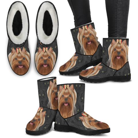 Yorkshire terrier (Yorkie) Print Faux Fur Boots For Women