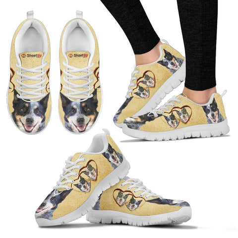 Australian Cattle Dog With Heart Print Running Shoes For Women