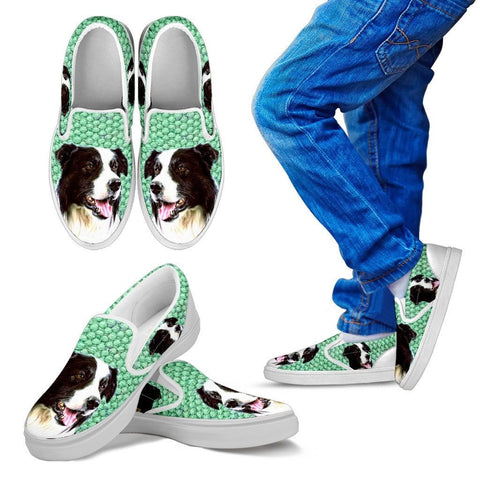 Border Collie Print Slip Ons For KidsExpress Shipping